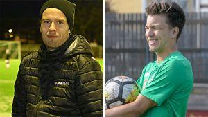 Fotbollsspelarna Jonathan Jäntti och Mehdi El Moutacim.