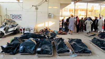 Lik i svarta likpåsar uppradade i bårhuset i Nasiriyah efter en förödande brand vid en sjukhusavdelning i staden.
