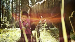 Flicka blir puffad av en häst
