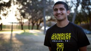 Klimataktivisten Aaryaman Singhal i Dallas, Texas.
