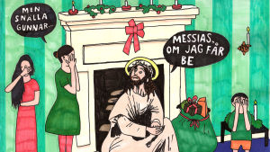 Man som klätt ut sig till Messias familj som skäms. teckning