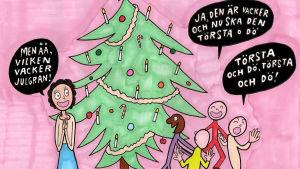Barn som dansar kring gran och sjunger morbid sång om granen som ska dö. karikatyr