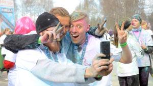 Precis ALLA tog selfies efter loppet. Så även Petter, Magnus och Nicke.