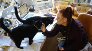 Susanne Schötz analyserar kattläten med katterna Donna och Turbo.