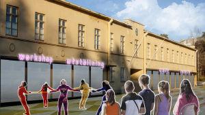 Så här kunde Manegen i Pargas se ut i framtiden enligt en skiss av arkitektstuderandena Altti Moisala och Ville Lahtinen.