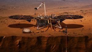 Schematisk bild av robotbas på Mars.