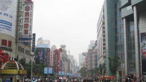 En gågata i Shanghai i Kina