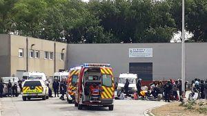 Polisen måste ingripa när migranter rök ihop den 1 juli 2017 i Calais.