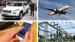 airbus, mobiltelefon, elnätet, jeep