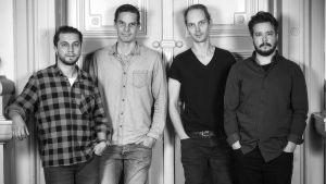 Skådespelarna Joonas Heikkinen, Martin Bahne, Carl Alm och Willehard Korander.