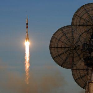 Sojuzraket på väg till rymdstationen ISS.