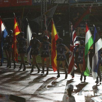 Flaggor under invigningsceremonin till EUSA-spelen 2016.