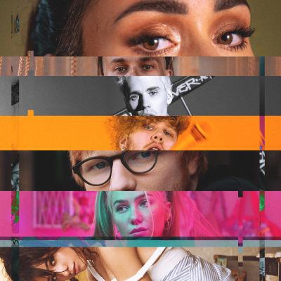 Kuvakollaasi eri artisteista. Kuvassa Evelina, Ed Sheeran, Camila Cabello, Edi, Aleksanteri Hakaniemi, Justin Bieber ja Sini Yasemin.