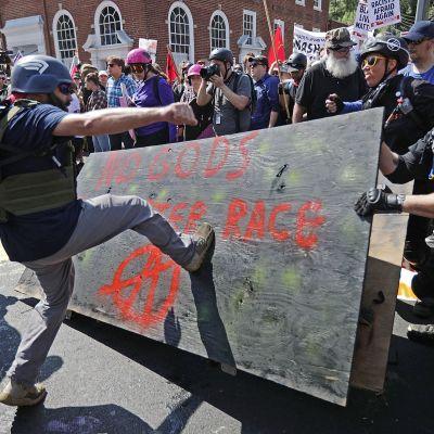 Högerextrem demonstration i Charlottesville, USA.