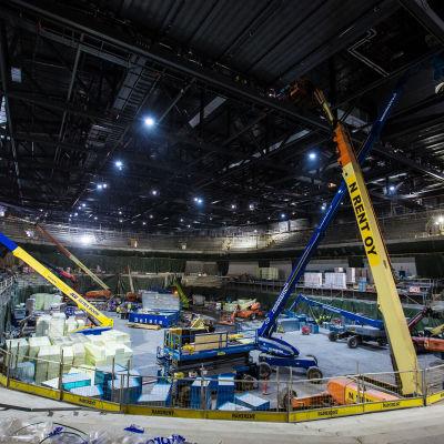 Tampereen areena tammikuussa 2021. Kuvassa kaukalo areenan toiselta tasolta kuvattuna keskustan/rautatieaseman puoleisesta päädystä.