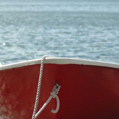 En röd roddbåt