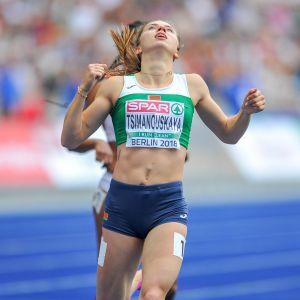 Krystsina Tsimanouskaja Berliinin EM-kisoissa.