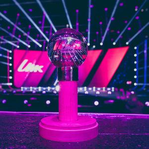 UMK:n palkinto lavan edessä. Palkinnon on suunnitellut Minna Viitalähde.