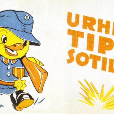 Nimimerkki Farbror (Arnold Tilgmann) teki lapsille sota-ajan kuvakirjan.