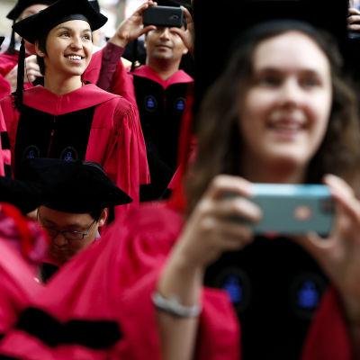 Studerande i sina examenskläder på Harvard universitet.