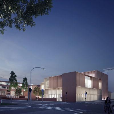 Modellbild på hur det nya campusområdet vid Björneborg svenska samskola ska se ut.