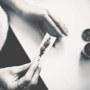 Någon rullar en cannabiscigarette.