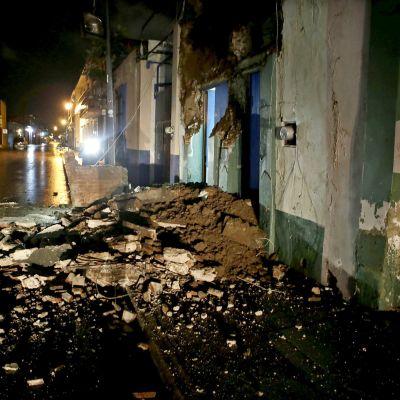 Byggnadsskador efter jordbävningen i Mexiko.