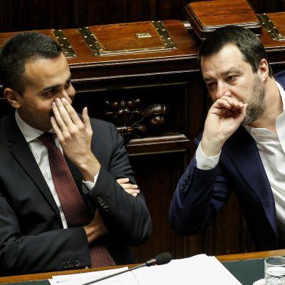 Viiden tähden liikkeen johtaja Luigi Di Maio (vas.) ja Lega puolueen johtaja Matteo Salvini yrittävät päästä sopuun hallitusyhteistyötä hiertävistä erimielisyyksistä. Arkistokuva.