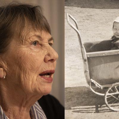 Lähikuva 80.vuotta täyttävästä naisesta. Vieressä lapsuuskuva, jossa vauva istuu myssy päässä lastenvaunussa 1940-luvulla.