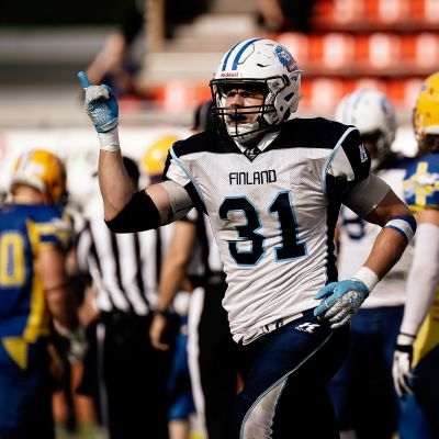 Suomen miesten amerikkalaisen jalkapallon maajoukkuekapteeni Veikka Lehtonen.