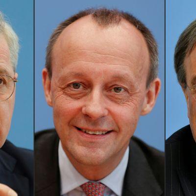 Från vänster Norbert Röttgen, Friedrich Merz och Armin Laschet.
