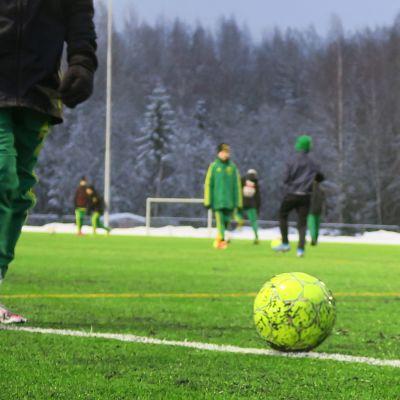 Pelaajia Kaupin urheilupuiston tekonurmella