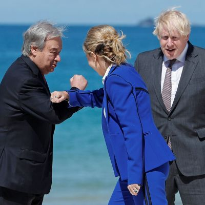 G7-toppmötet i Storbritannien. António Guterres, Carrie Johnson, Boris Johnson i Carbis Bay, Cornwall. 12.6.2021