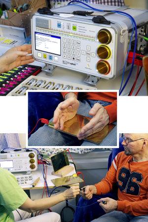 Bioresonanssihoidoissa käytettäviä välineitä.