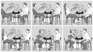 Piirretty kuva. Kuusi kuvaa missä mies ja nainen istuu vastakkain.