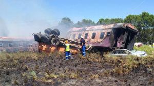Tågolycka i Fristatsprovinsen i Sydafrika.