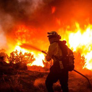 Palomies sammuttaa liekkejä.