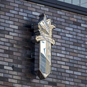 Poliisin kyltti Mikkelin poliisilaitoksen rakennuksessa.