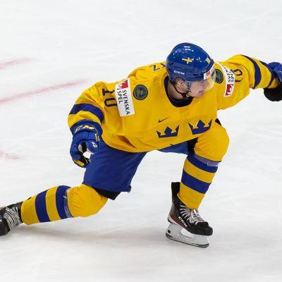 Ruotsin Alexander Holtz tuulettaa maalia.