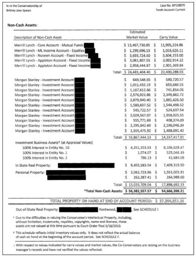 Dokument från rättegångsansökan i fallet Britney Spears. I dokumentet syns sångarens tillgångar.