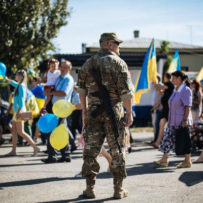 Ukrainare firar självständighetsdag i Slovjansk.