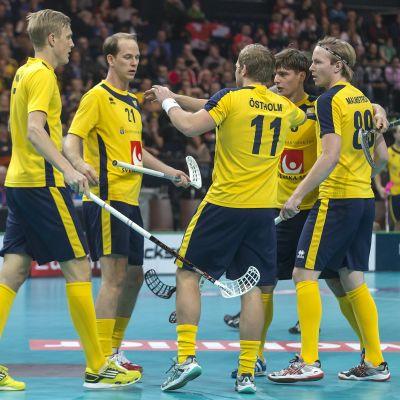 Spelare från Sveriges innebandylandslag.