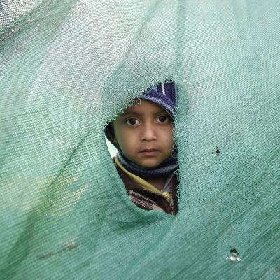 Flicka kikar ut genom söndrigt tält i Katmandu.