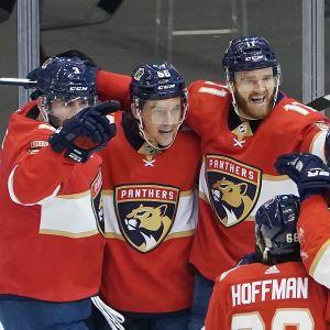 Erik Haula jublar med sina lagkamrater.