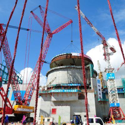 Kärnkraftverket i Taishan under bygget 2012.