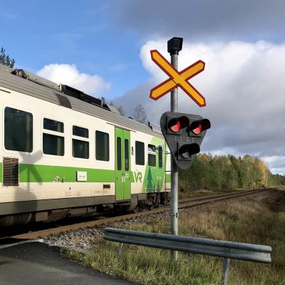 Den grönvita rälsbussen passerar plankorsningen vid Skogby station.