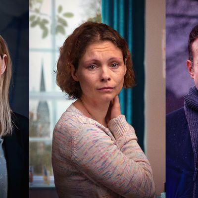 Kollaasikuva kolmessa osassa: kuvassa Tracy Daszkiewicz (Anne-Marie Duff), Dawn Sturgess (MyAnna Buring) ja Nick Bailey (Rafe Spall).