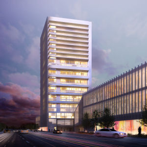 Arkitektens bild av Wasa Stations torn där hotellet ska inhysas.