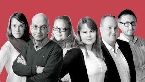 Journalister som jobbar med #tadetpåallvar är från vänster Eva-Maria Koskinen, patrik Skön, Kia Svaetichin, Annica Lindström, Peter Sjöholm och Alexander Uggla
