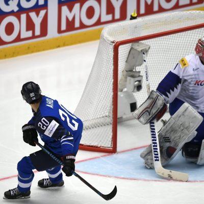 Sebastian Aho har gjort mål mot Sydkorea i VM.